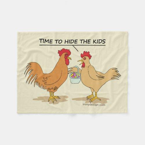 Funny Chicken Easter Egg Hunt Cartoon Fleece Blanket