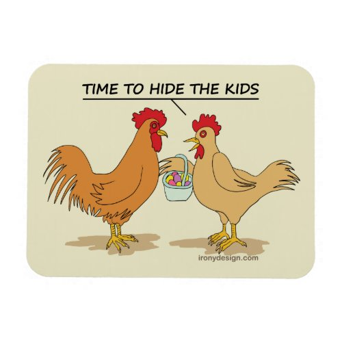 Funny Chicken Easter Egg Hunt Cartoon Magnet