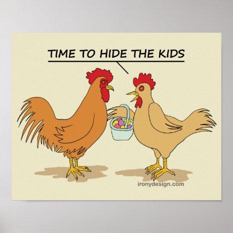 Funny Chicken Easter Egg Hunt Cartoon Poster