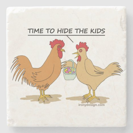 Funny Chicken Easter Egg Hunt Cartoon Stone Coaster
