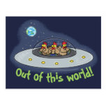 Fun Chickens In Spaceship Postcard