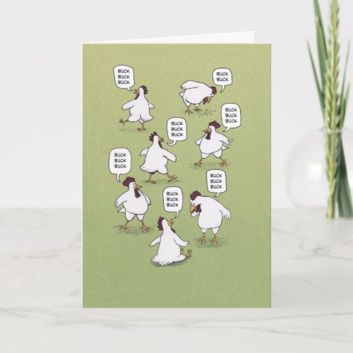 ❤️  Funny Twenty Bucks Chickens Birthday Card