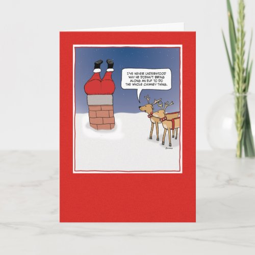 Funny Christmas card: Santa Stuck card