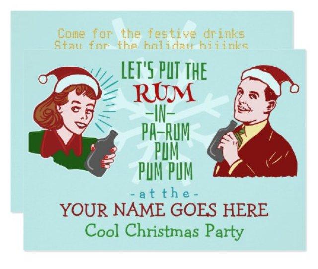 Funny Christmas Party Retro Rum Adult Holiday V Invitation