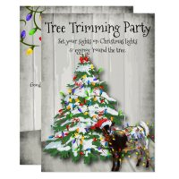 Funny Christmas Tree Trimming Party Goat Invitation ...