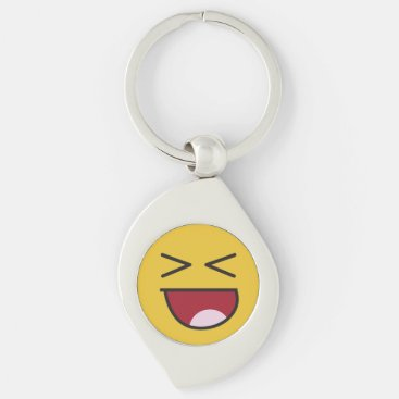 Funny crossed eyed laughing Emoji Keychain