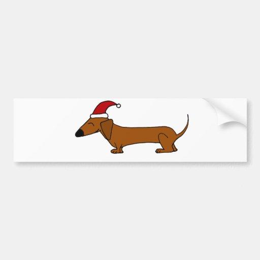 funny dachshund in santa hat christmas