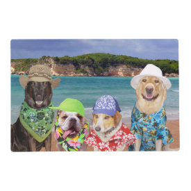 Funny Dogs/Lab on the Beach Laminated Place Mat
