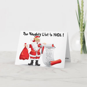Funny Donald Trump Santa With Naughty List Holiday Card