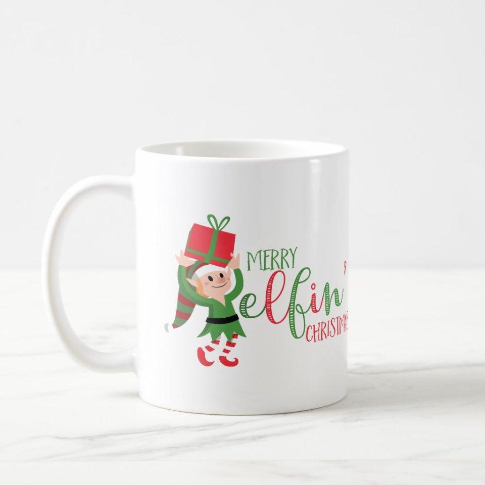 Funny Elf Merry Elfin' Personalized Christmas Mug