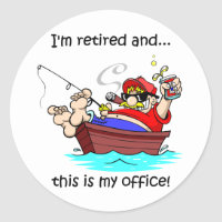 Funny fishing retirement classic round sticker