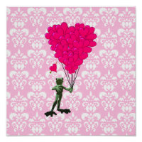 Funny frog cartoon & pink heart on damask poster
