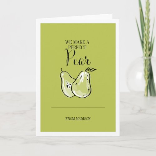 Funny Fruit Pun Perfect Pear Valentine Card