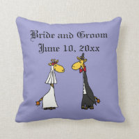 Funny Giraffe Bride and Groom Wedding Art Throw Pillow