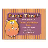 Funny Hamster Orange Purple Striped Invitations