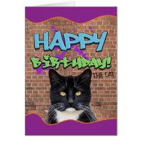 Funny Happy Birthday Graffiti from The Cat Card