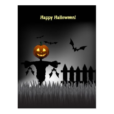 Funny Jack-o'-Lantern Scarecrow post cards