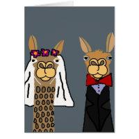 Funny Llama Bride and Groom Wedding Art Card