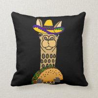 Funny Llama eating Taco Cartoon Throw Pillow