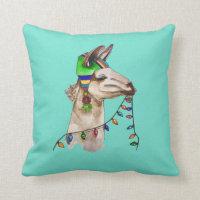funny llama throw pillow