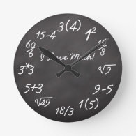 Funny Math Geek Round Wallclocks