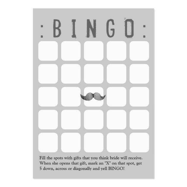 Funny Mustache 5x5 Grey Bingo Card Zazzle