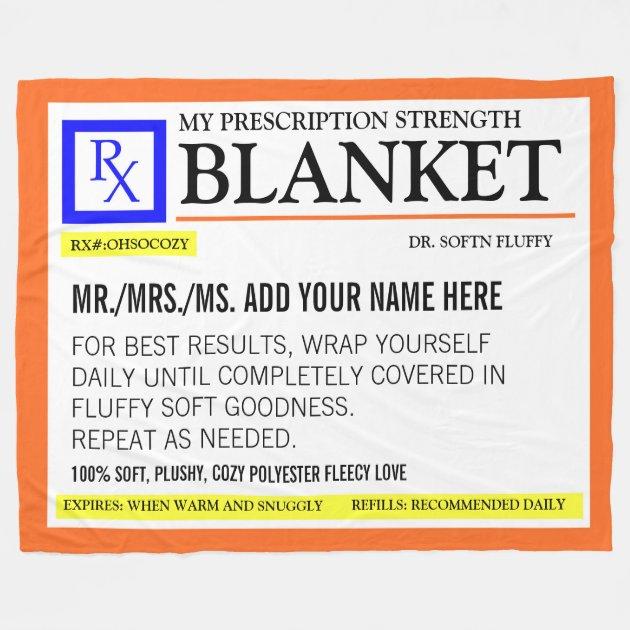 Funny Prescription Label Fleece Blanket Zazzle