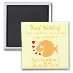 Cute Goldfish Beach Save the Date Magnets