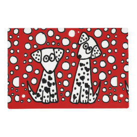Funny Spotted Puppy Dog Love Laminated Placemat