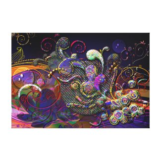 Funny Swirls Abstract Modern Art Gallery Wrapped Canvas
