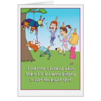 Funny Wine Pinata birthday card