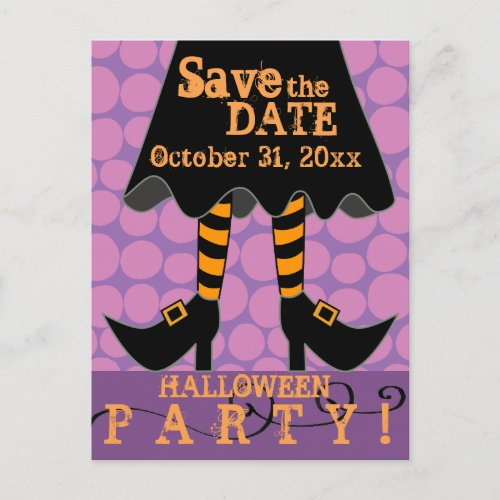 Funny Witch Legs Halloween Party Save the Date Invitation Postcard
