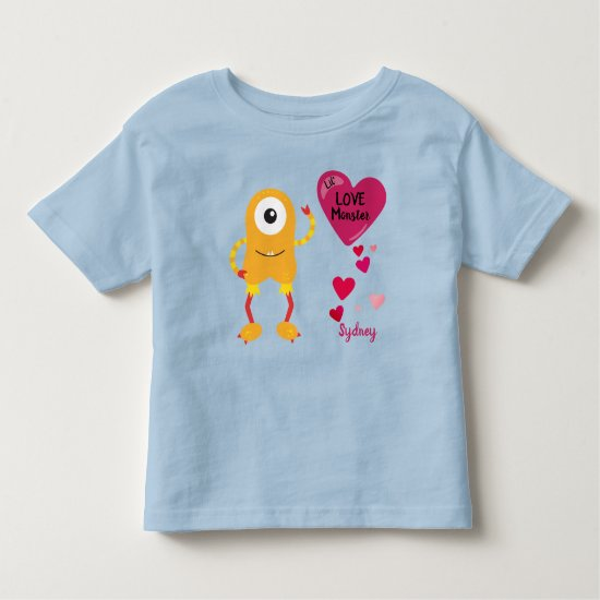 Funny Yellow Little Love Monster Hearts | Toddler T-shirt