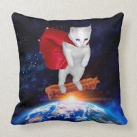 FunnyCat Riding Bacon In Space With Superhero Cape Throw Pillow