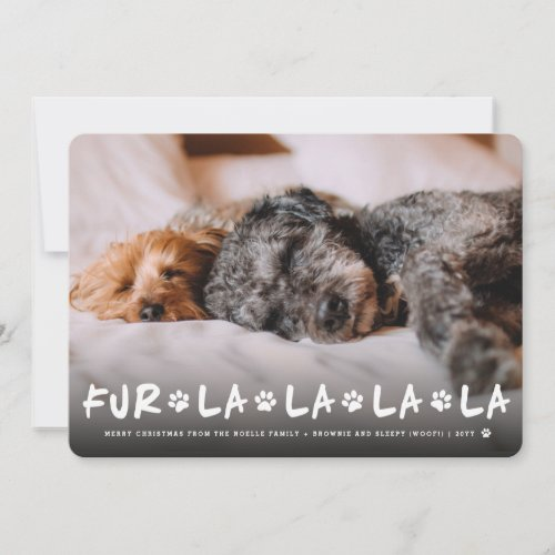 Fur La La La La Paws Dog Lover Photo Funny Pet Holiday Card