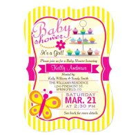 Fuschia Pink and Yellow Butterfly Girl Baby Shower 5x7 ...