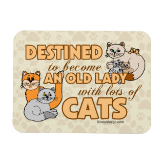Future Crazy Cat Lady Funny Saying Design Magnet