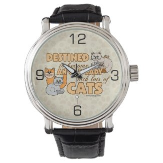 Future Crazy Cat Lady Funny Saying Design Wristwatch