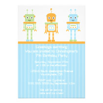 Futuristic robot boy's birthday party invitation