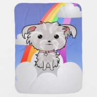 Fuzzy Puppy and Rainbow Baby Blanket