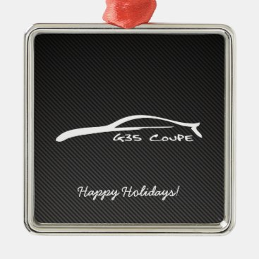 G35 Coupe White Brushstroke Christmas Ornaments