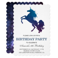 Galaxy Space Unicorn Birthday Party Invitation