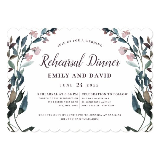 Garden Crest Rustic Kraft Fl Wedding Rehearsal Invitation