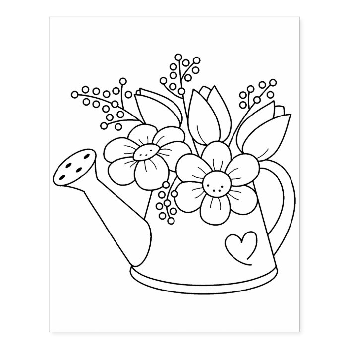 Garden Watering Can With Flowers Coloring Page Rubber Stamp Zazzle Com