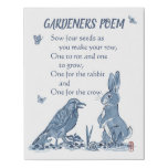 Gardeners' Poem Blue & White Seeds, Rabbit, Crow Faux Canvas Print