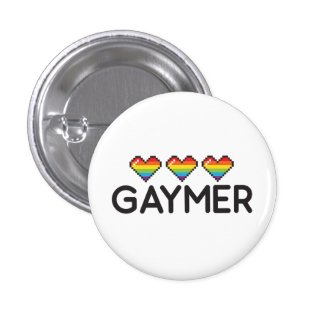Gaymer Funny Nerdy LGBT Pride Hearts Button