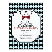 Geek Glasses, Bow Tie & Argyle Birthday Invitation ...