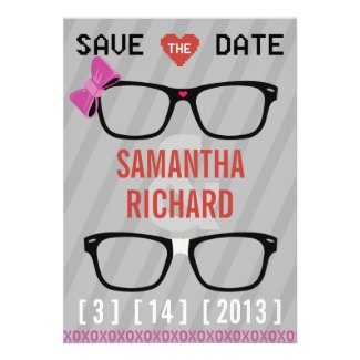 Geek Glasses  & Hearts Wedding Save the Date Custom Announcement