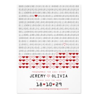 Geek Programmed For Love Binary Code Save The Date Personalized Invite