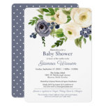 Gender Neutral Baby Shower Blue & Cream Floral Invitation